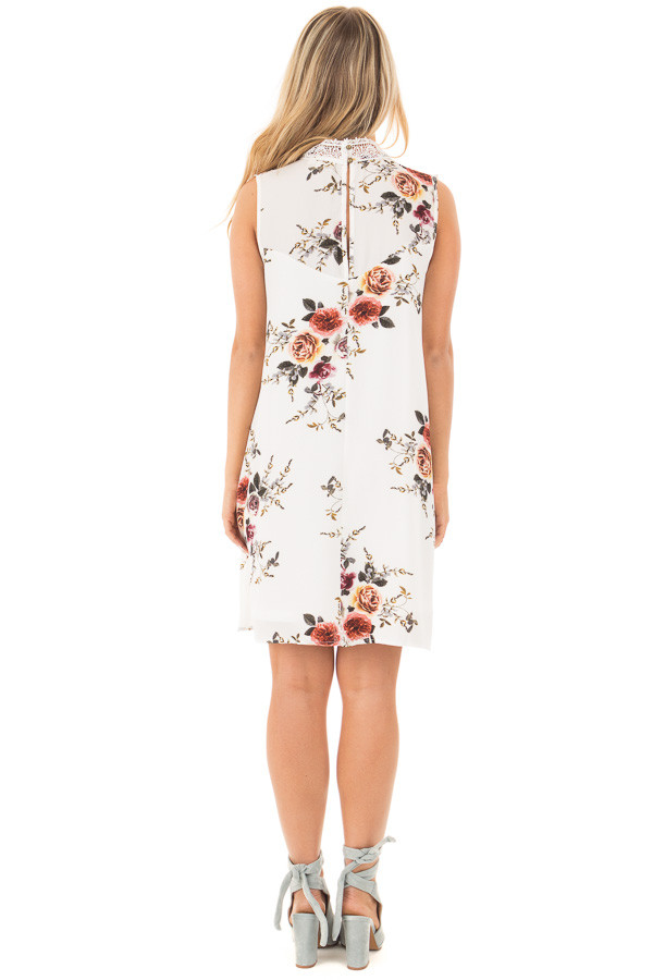 White Floral Print Sleeveless Dress with Crochet Detail back full body