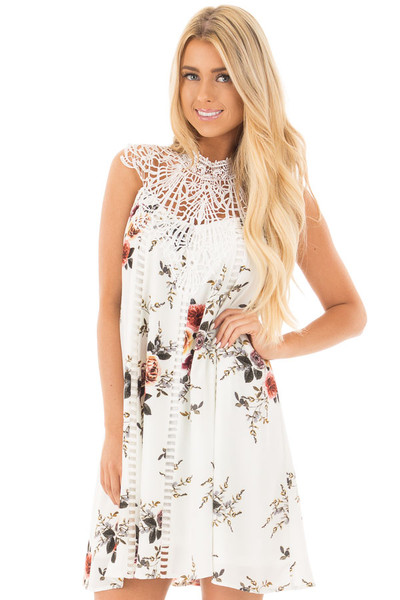 White Floral Print Sleeveless Dress with Crochet Detail front close up