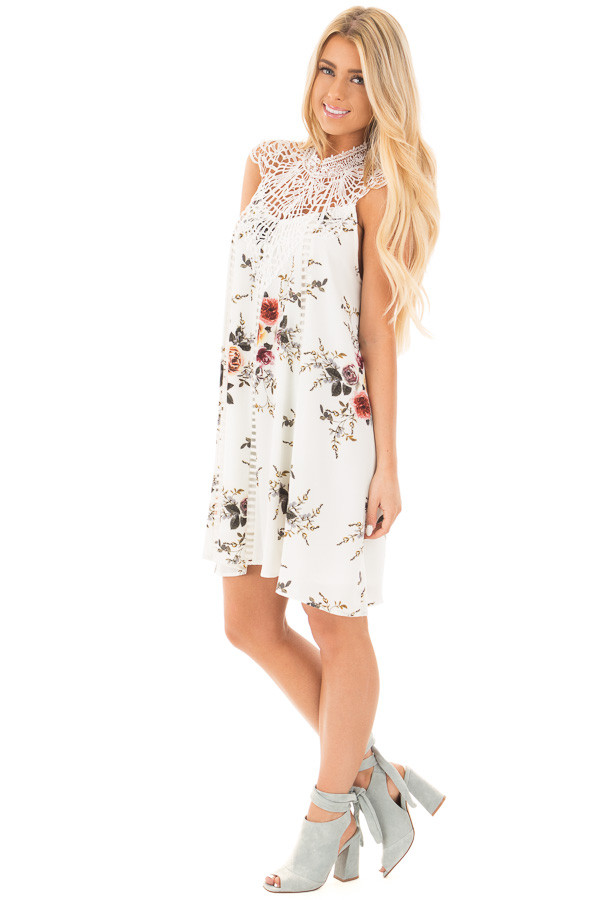 White Floral Print Sleeveless Dress with Crochet Detail side full body