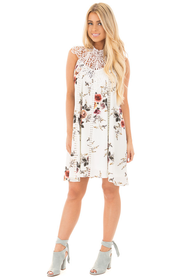 White Floral Print Sleeveless Dress with Crochet Detail front full body