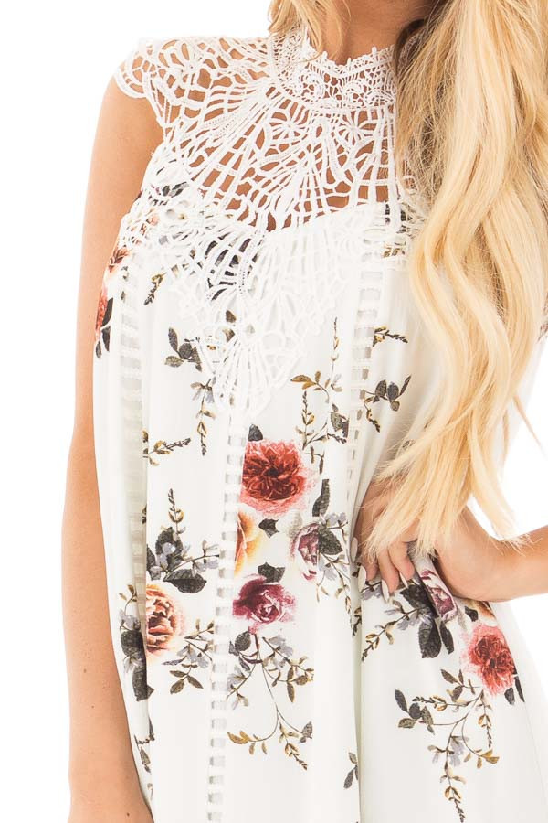 White Floral Print Sleeveless Dress with Crochet Detail detail