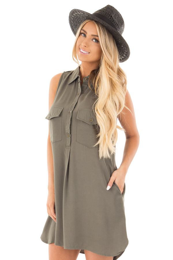 Forest Green Button Up Safari Dress with Side Pockets front close up