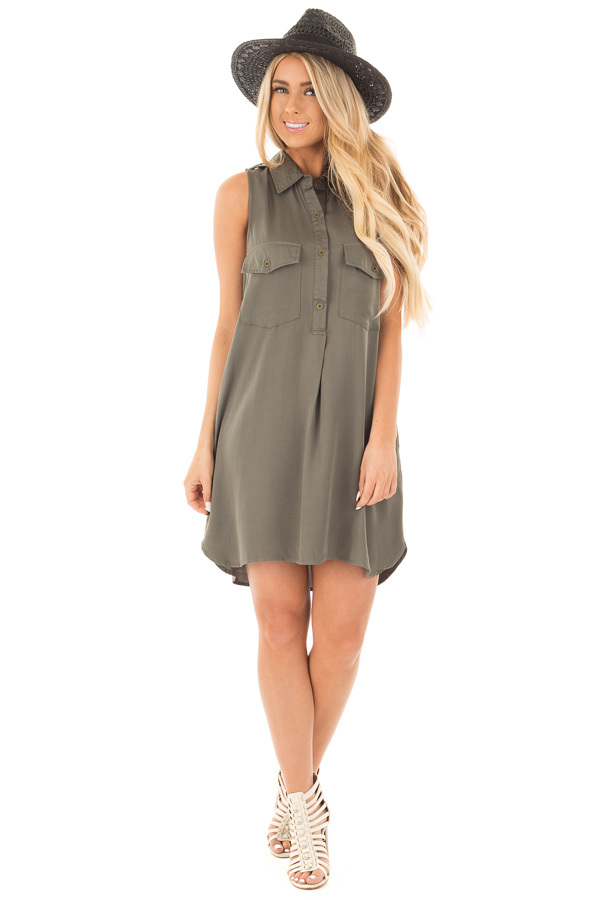 Forest Green Button Up Safari Dress with Side Pockets front full body