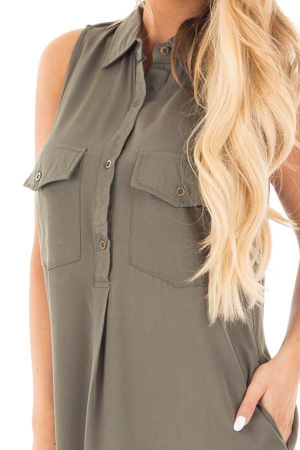 Forest Green Button Up Safari Dress with Side Pockets detail