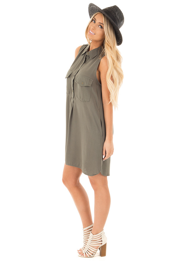 Forest Green Button Up Safari Dress with Side Pockets side full body
