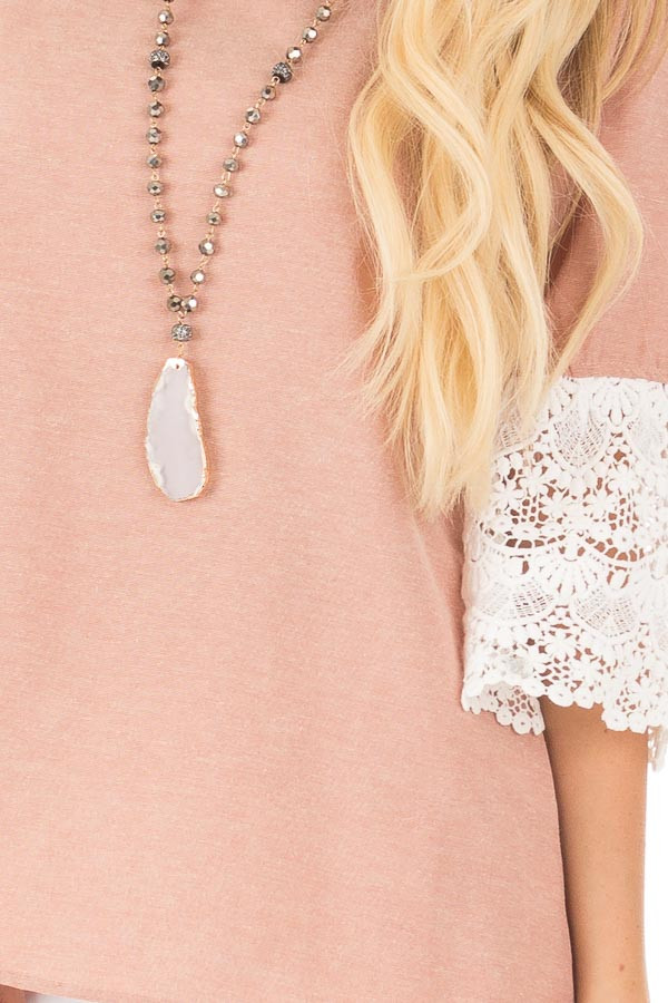 Dusty Pink Loose Fit Top with White Crochet Sleeve Detail detail