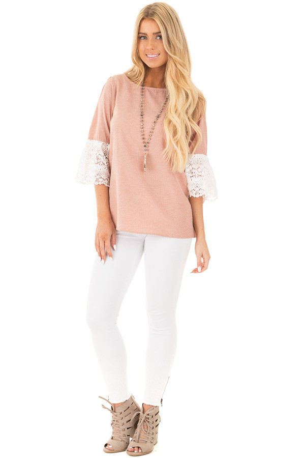 Dusty Pink Loose Fit Top with White Crochet Sleeve Detail front full body