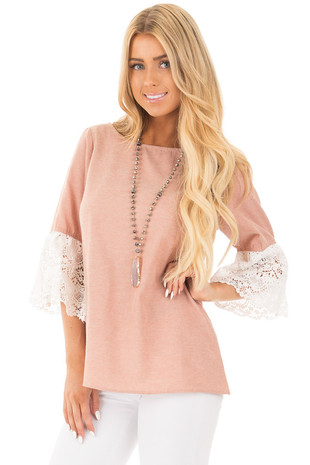 Dusty Pink Loose Fit Top with White Crochet Sleeve Detail front close up