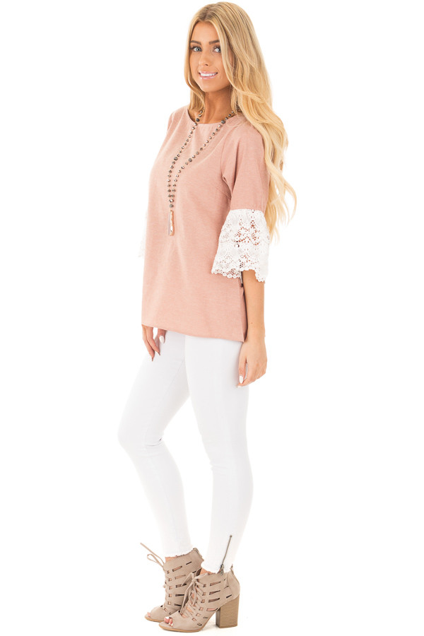 Dusty Pink Loose Fit Top with White Crochet Sleeve Detail side full body