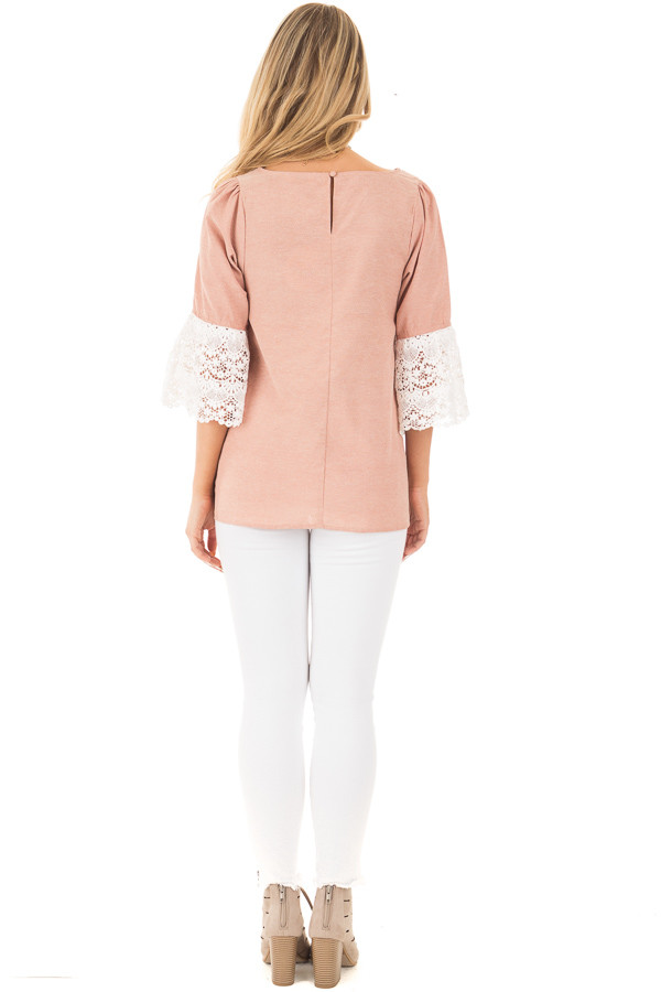 Dusty Pink Loose Fit Top with White Crochet Sleeve Detail back full body