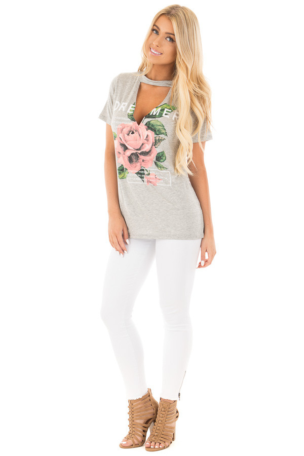 Heather Grey Rose Graphic Top with Front Cut Out Detail front full body