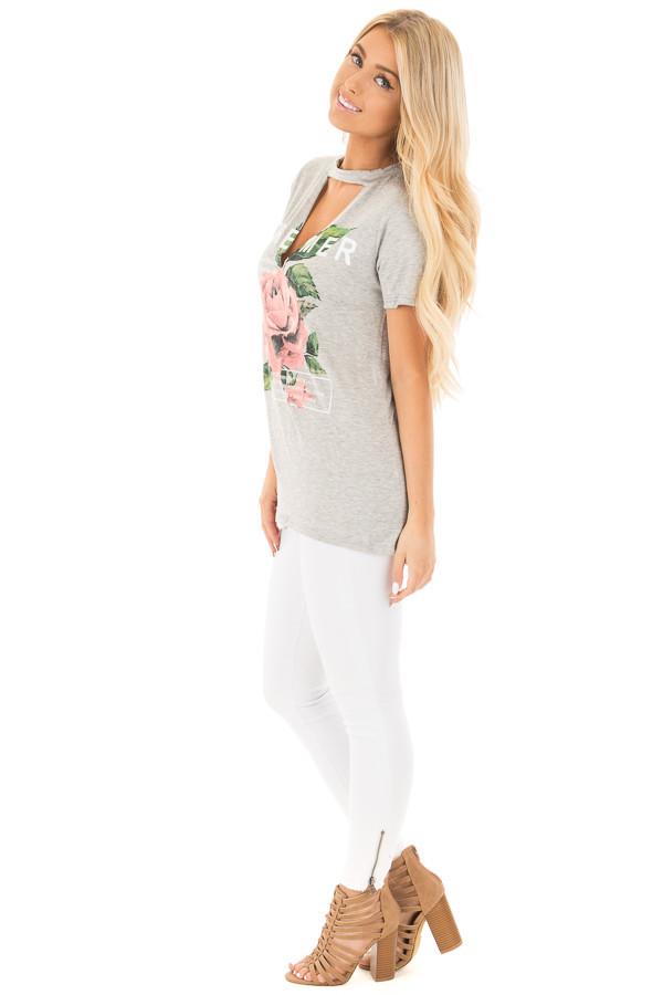 Heather Grey Rose Graphic Top with Front Cut Out Detail side full body