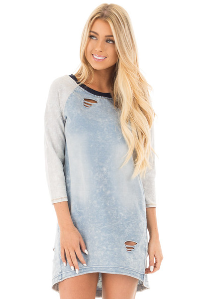 Faded Denim Blue Raglan Tunic Dress with Distressed Details front close up