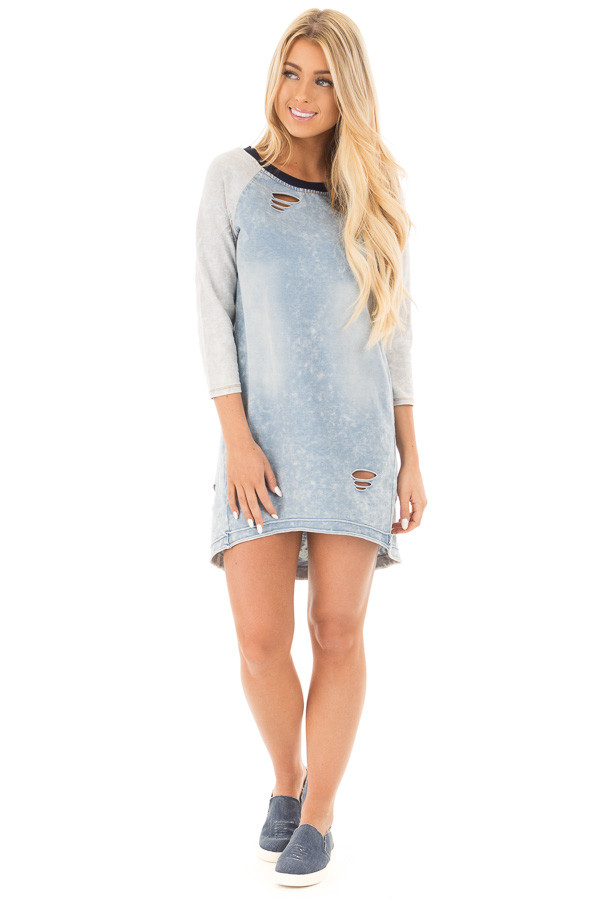 Faded Denim Blue Raglan Tunic Dress with Distressed Details front full body