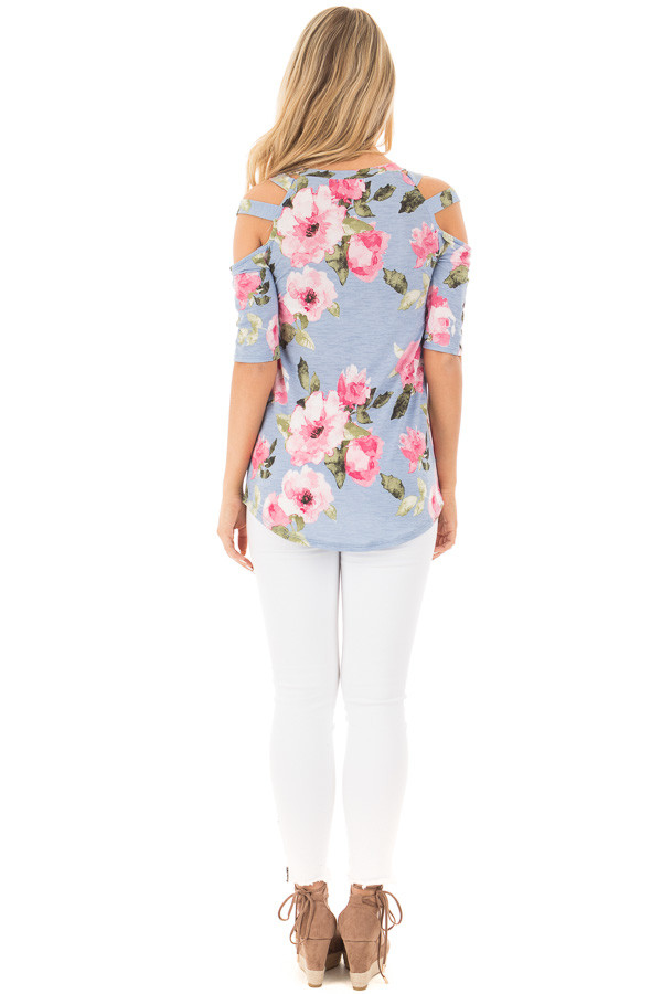 Slate Blue Floral Slinky Top with Cold Shoulder Cut Outs back full body