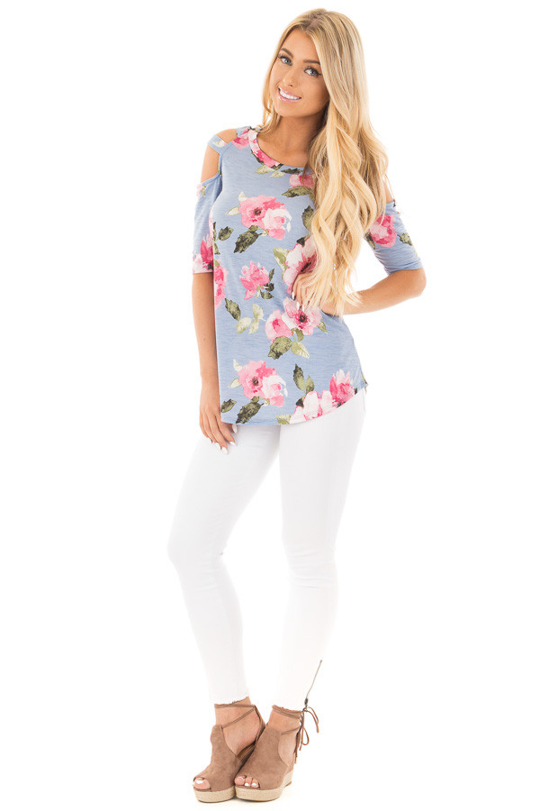 Slate Blue Floral Slinky Top with Cold Shoulder Cut Outs front full body