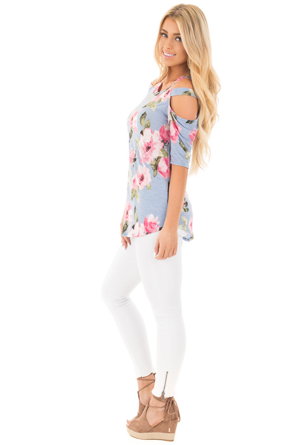 Slate Blue Floral Slinky Top with Cold Shoulder Cut Outs side full body