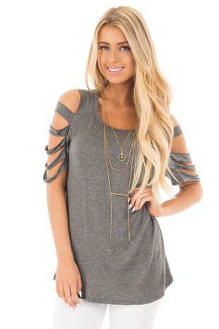 Charcoal Round Neck Top with Ladder Cut Out Sleeves front close up