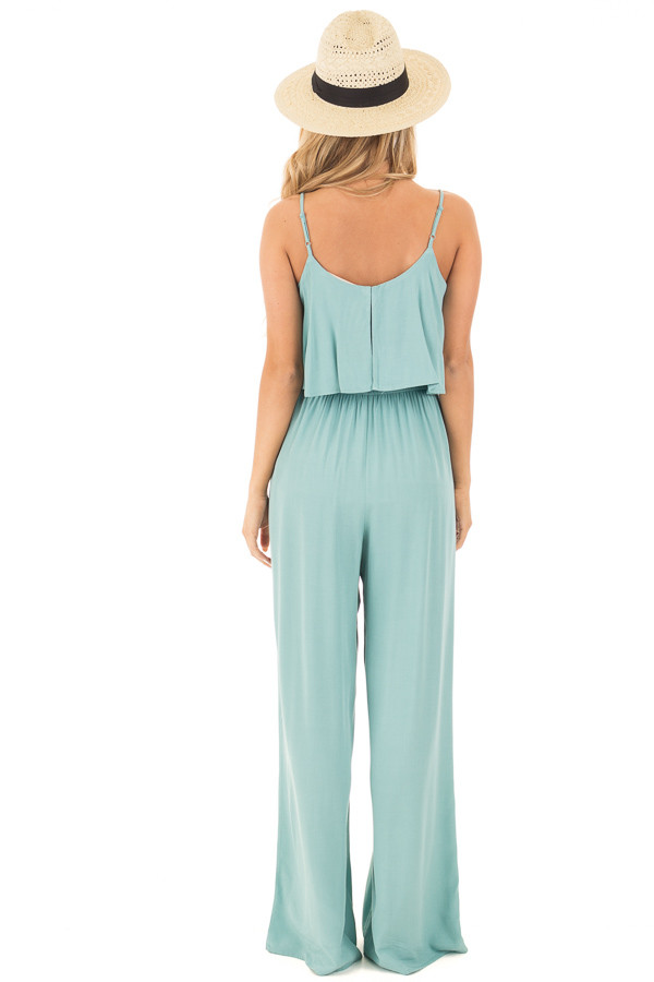 Blue Sage Sleeveless Wide Leg Jumpsuit with Overlay Detail back full body