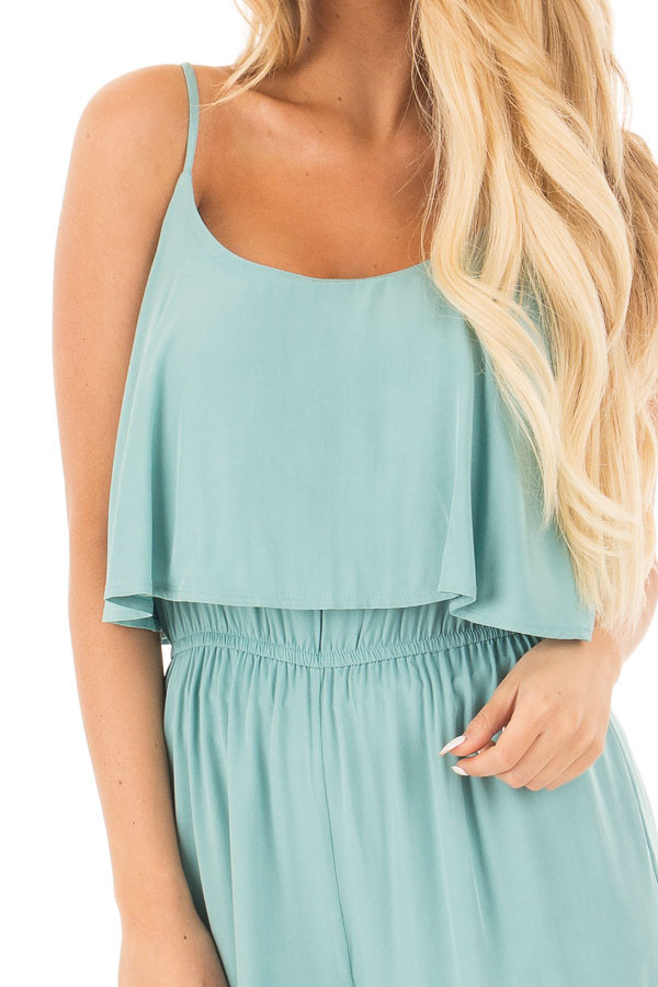 Blue Sage Sleeveless Wide Leg Jumpsuit with Overlay Detail detail