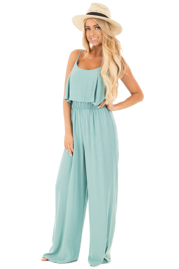 Blue Sage Sleeveless Wide Leg Jumpsuit with Overlay Detail front full body