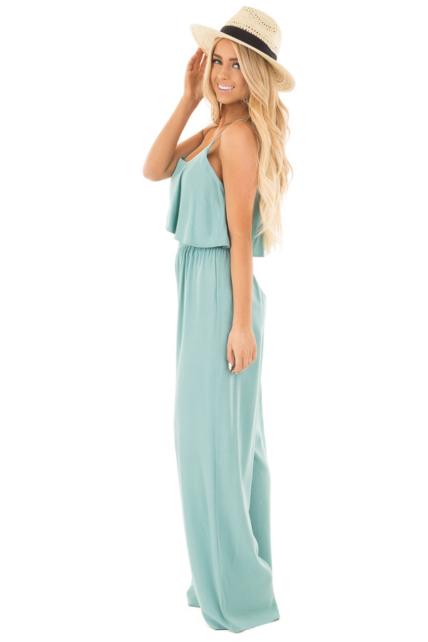 Blue Sage Sleeveless Wide Leg Jumpsuit with Overlay Detail side full body