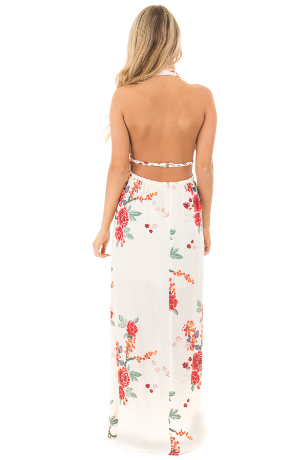 Cream Floral Print Halter Maxi Dress with Braided Detail back full body