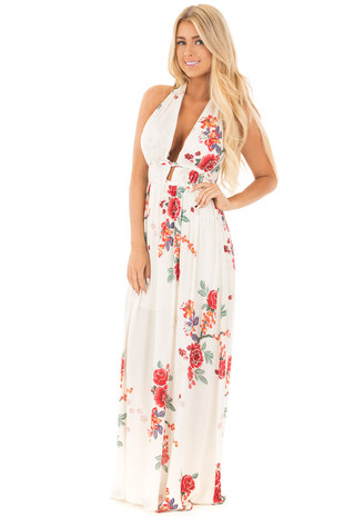 Cream Floral Print Halter Maxi Dress with Braided Detail front full body