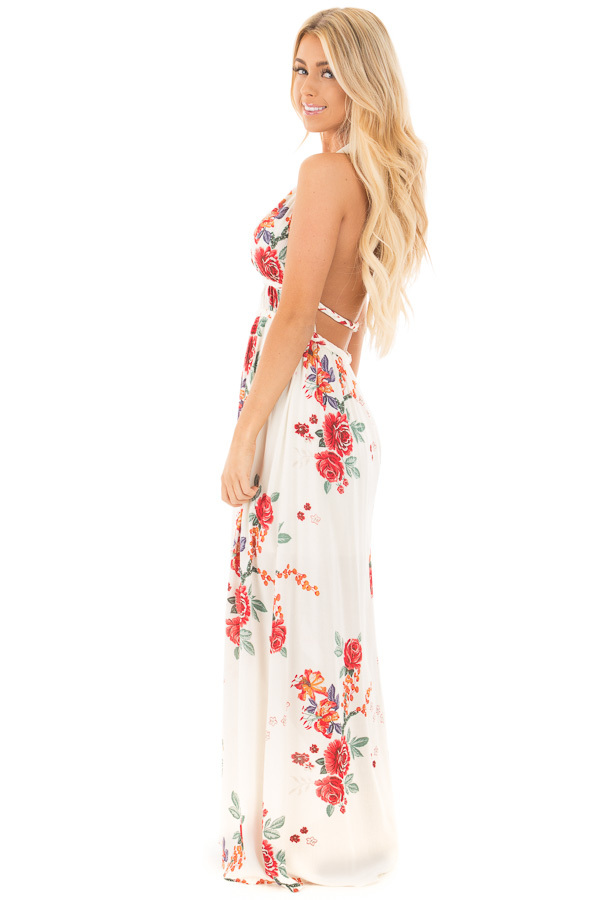 Cream Floral Print Halter Maxi Dress with Braided Detail side full body
