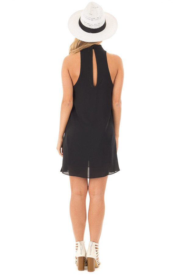 Black Choker Tank Dress with a Keyhole Front and Back back full body