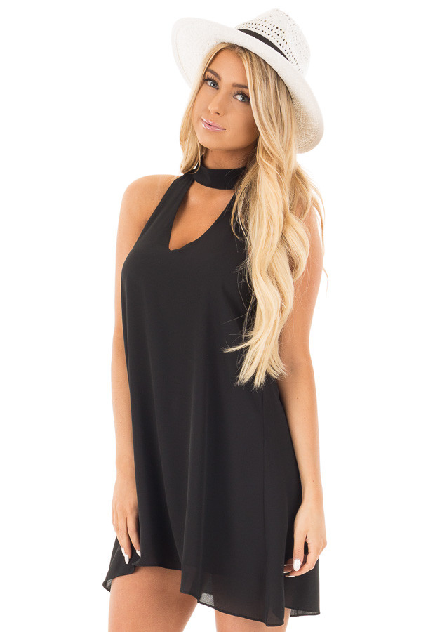 Black Choker Tank Dress with a Keyhole Front and Back front close up