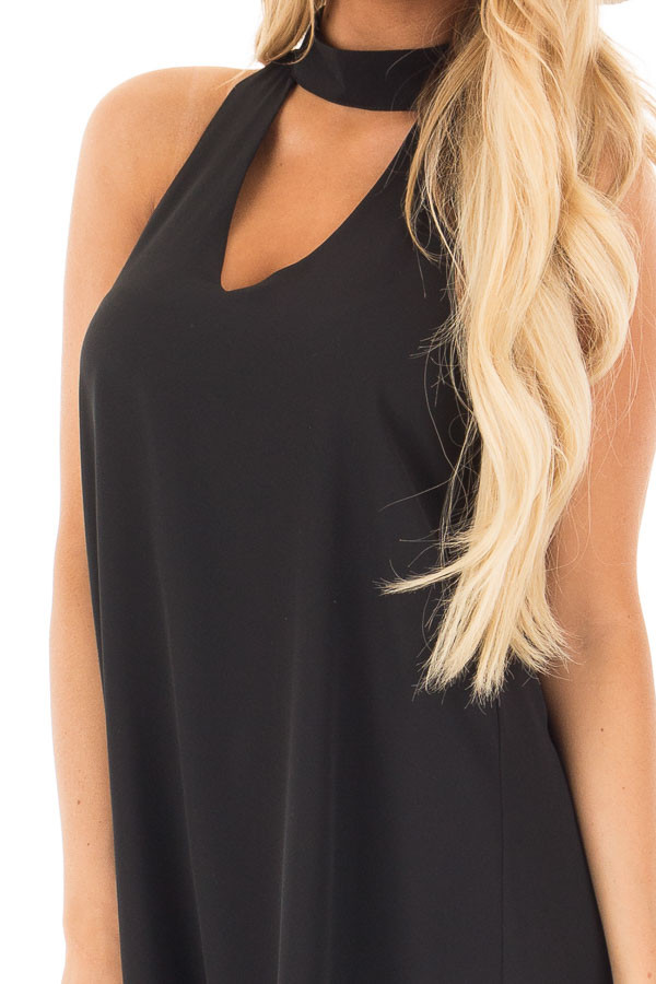 Black Choker Tank Dress with a Keyhole Front and Back detail