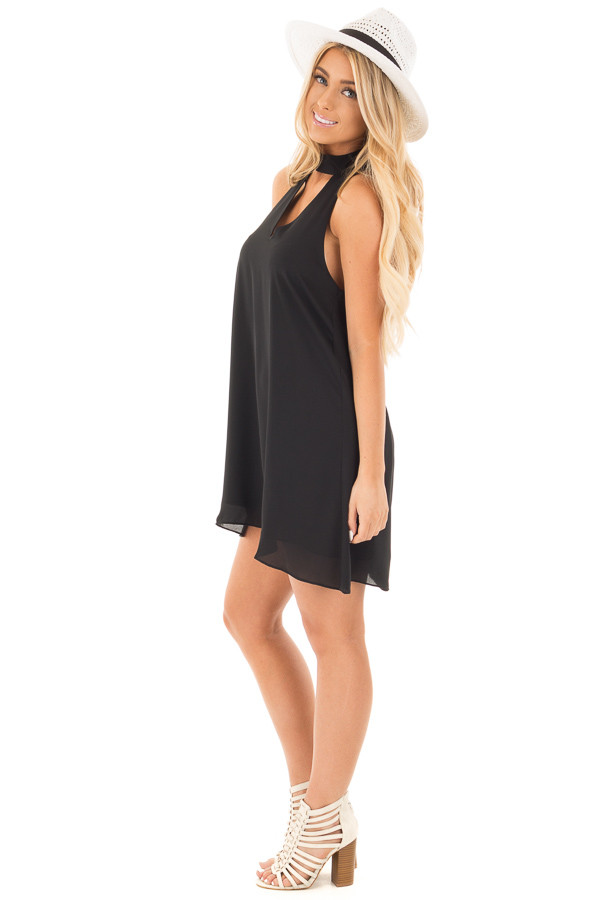 Black Choker Tank Dress with a Keyhole Front and Back side full body
