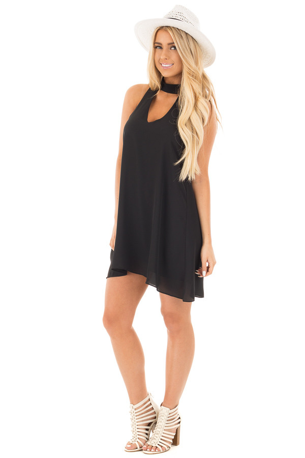 Black Choker Tank Dress with a Keyhole Front and Back front full body