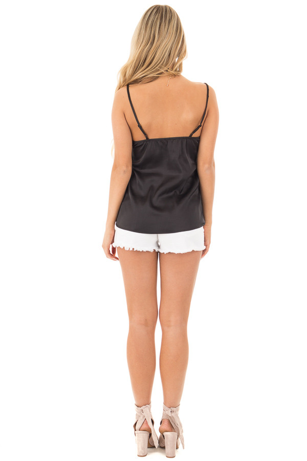 Black Silky Soft Tank with Scalloped  Neckline back full body