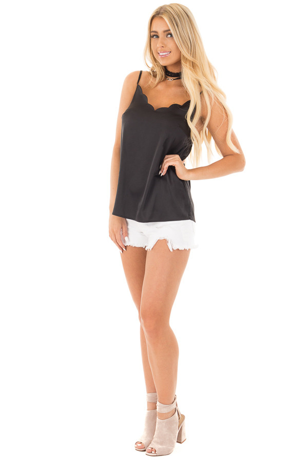 Black Silky Soft Tank with Scalloped  Neckline front full body