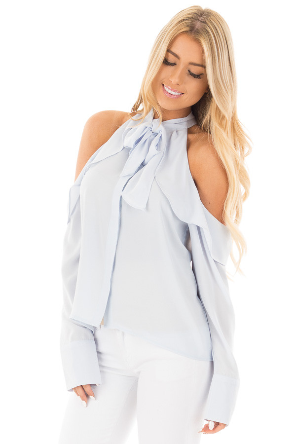 Sky Blue Cold Shoulder Blouse with Ribbon Tie Detail front close up