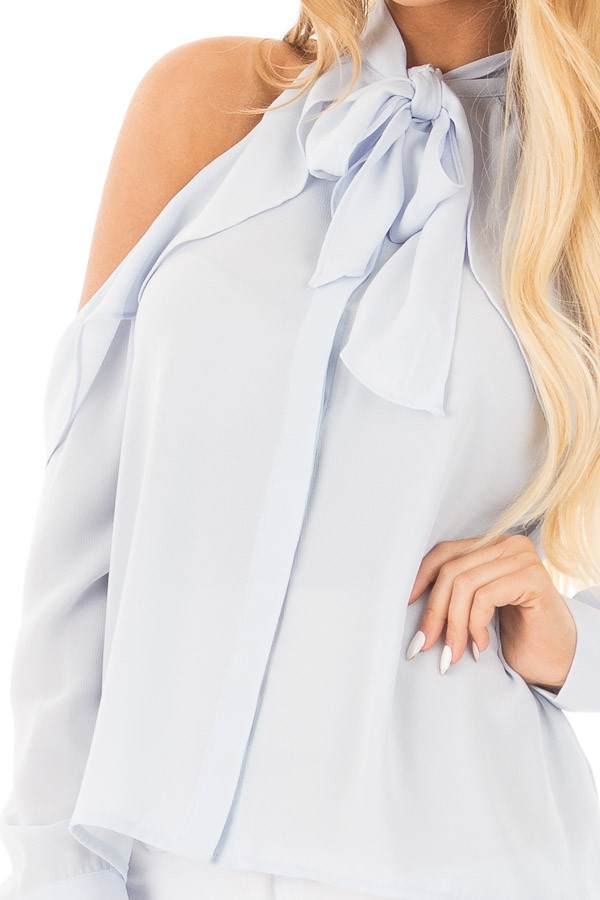 Sky Blue Cold Shoulder Blouse with Ribbon Tie Detail detail