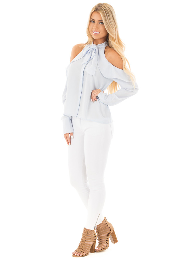 Sky Blue Cold Shoulder Blouse with Ribbon Tie Detail front full body