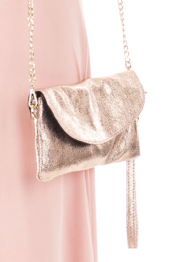 Rose Gold Fold Over Clutch with Gold Chain Strap front full body close up