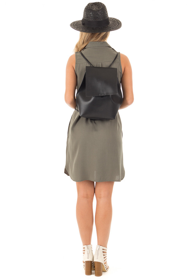 Black Faux Leather Fold Over Backpack back full body