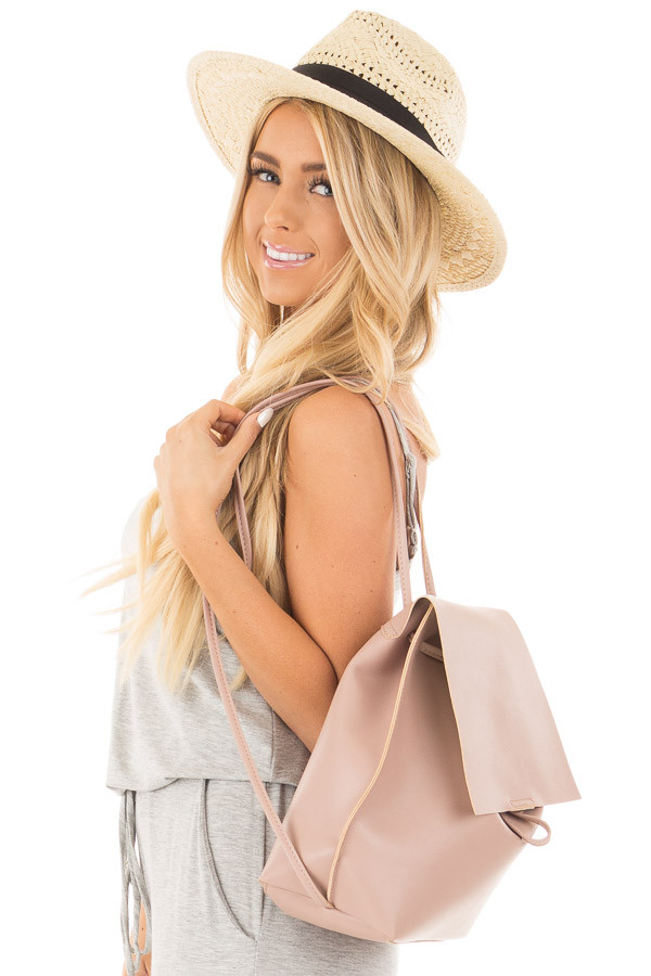 Blush Faux Leather Fold Over Backpack side close up