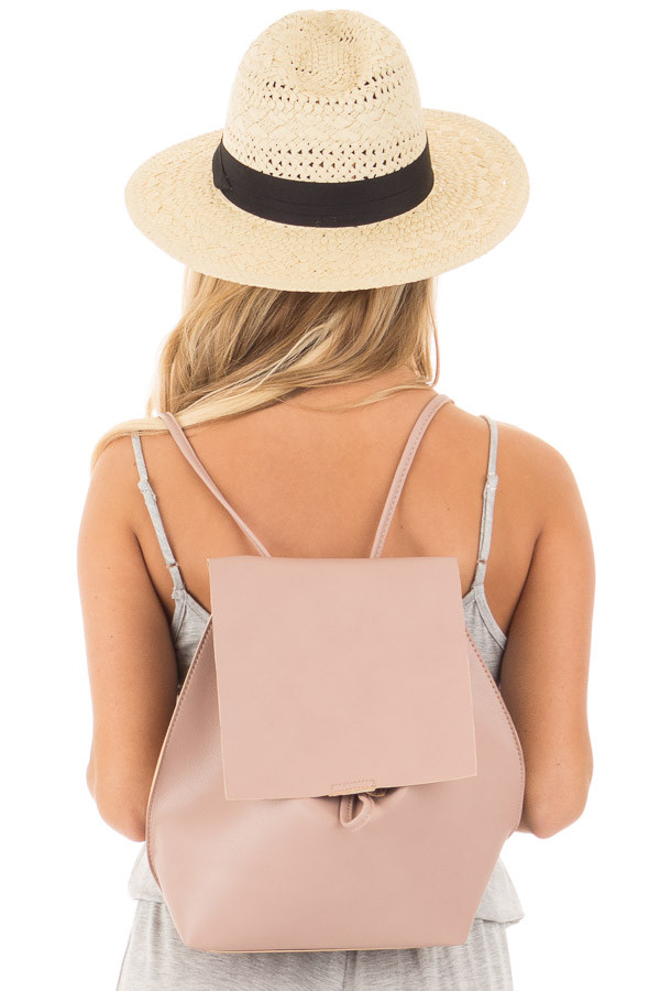 Blush Faux Leather Fold Over Backpack back close up