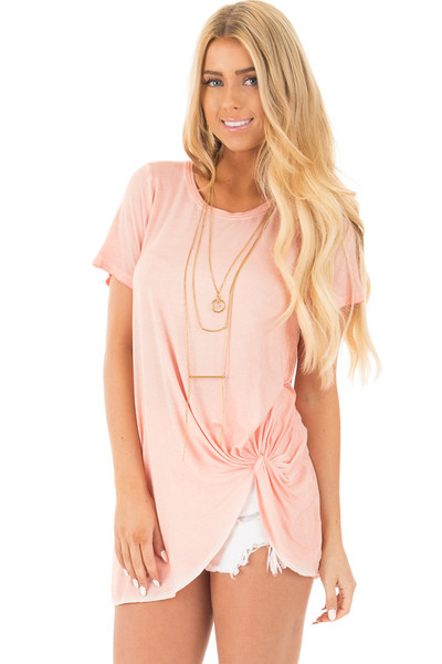 Apricot Mineral Wash Cap Sleeve Top with Twist Detail front close up