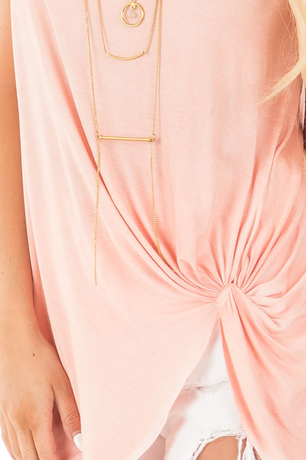 Apricot Mineral Wash Cap Sleeve Top with Twist Detail detail