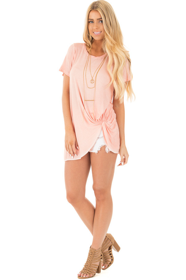 Apricot Mineral Wash Cap Sleeve Top with Twist Detail front full body