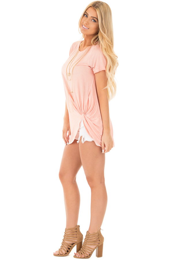 Apricot Mineral Wash Cap Sleeve Top with Twist Detail side full body