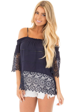 Navy Off the Shoulder Lace Detail Top with 3/4 Sleeves front close up