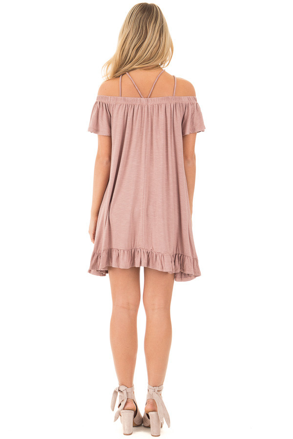 Dusty Mauve Jersey Knit Dress with Strappy Neckline Details back full body