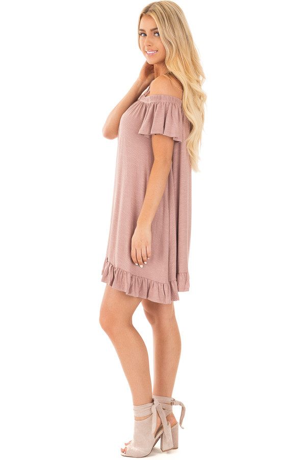 Dusty Mauve Jersey Knit Dress with Strappy Neckline Details side full body